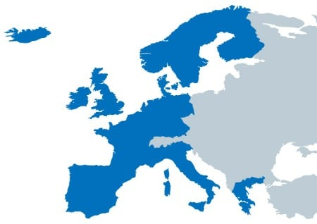 Map of countries in Europe covered by UNRIC